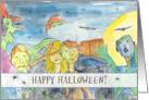 Zombie Happy Halloween Full Moon Bats Black Cats Witch Illustration card