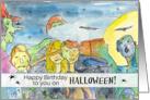 Zombie Happy Birthday on Halloween Full Moon Bats Black Cats card