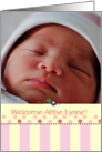 Birth Annoucement Photo Card Baby Girl Pink Dots Pink Stripes card