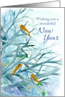 Happy New Year Bluebirds Winter Trees Watercolor Painting card