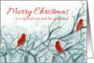 Merry Christmas Son and Girlfiend Cardinal Birds Winter Trees card