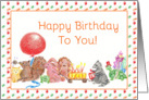 Happy Birthday To You Child Animal Parade Red Baloon Turtle card