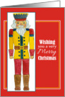 Nutcracker Merry Christmas Wishes Watercolor Illustration card