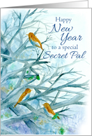 Happy New Year Secret Pal Bluebirds Winter Trees Watercolor card