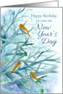 Happy Birthday on New Year's Day Bluebirds Winter Trees Watercolor card