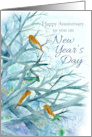 Happy Anniversary on New Year's Day Bluebirds Winter Trees Watercolor card