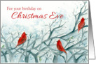 Happy Birthday on Christmas Eve Red Cardinal Birds Winter Trees card