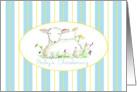 Baby's Christening Invitation Lamb Art Drawing Blue Stripe card