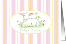 Baby's Baptism Invitation Lamb Art Drawing Pink Stripe card