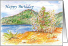 Happy Birthday Lake Outdoor Mountain Landscape Illustration card