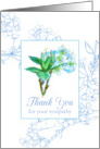 Thank You For Your Sympathy Blue Watercolor Flower Blossoms card