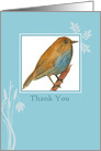 Thank You Blank Card Bluebird Watercolor Painting card
