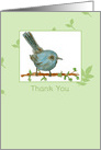 Thank You Blank Card Gnatcatcher Bird Watercolor Painting card