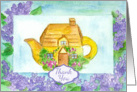 Thank You Cottage Teapot Lilac Flowers Watercolor Painting card