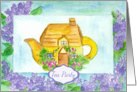 Tea Party Invitation Cottage Teapot Lilac Flowers Watercolor Painting card