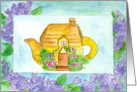Cottage Teapot Blank Note Card Lilac Flowers Watercolor Painting card