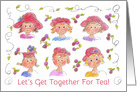 Tea Party Invitation Ladies in Red Hats Illustration card