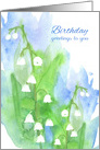 Happy Birthday Lily of the Valley Flower Distressed Border card