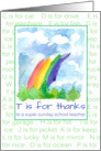 Thank You Sunday School Teacher Rainbow Alphabet Letters card
