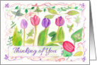 Thinking of You Friend Pink Purple Watercolor Tulip Painting card