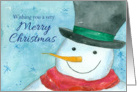 Wishing You a Very Merry Christmas Snowman Watercolor card
