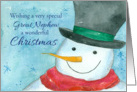 Merry Christmas Great Nephew Snowman Watercolor card