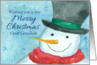 Merry Christmas Great Grandson Snowman Watercolor card