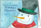 Happy Birthday on Christmas Snowman Watercolor card