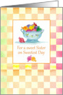 Happy Sweetest Day Sister Colorful Candy Pink Gingham Check card