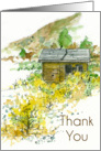 Thank You Autumn Desert Cabin Landscape Watercolor Painting card