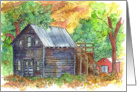 Thank You Country Home Landscape Watercolor Painting card
