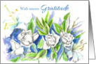 Thank You With Sincere Gratitude Rose Watercolor Painting card