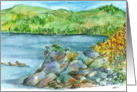 Happy Birthday Mountain Lake Landscape Watercolor Art card