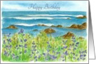 Happy Birthday Ocean Purple Lupine Flowers Watercolor Fine Art card