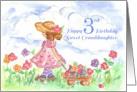 Happy 3rd Birthday Sweet Granddaughter Watercolor Art card