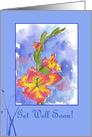 Get Well Soon Pink Gladiolus Flower Watercolor Art card