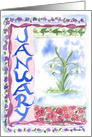Happy New Year January Winter White Snowdrops Watercolor card