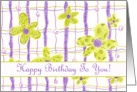 Happy Birthday Chartreuse Lavender Whimscial Flower Plaid card
