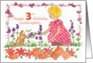 Happy 3rd Birthday Goddaughter Little Girl Pet Kitten Watercolor card