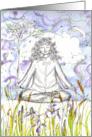 Thinking of You Yoga Meditation Botanical Iris Flowers Watercolor card