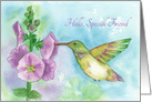 Hello Special Friend Hummingbird Flowers Watercolor Fine Art card