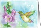 Blank Note Card Hummingbird Flowers Watercolor Fine Art card