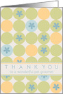 Thank You Pet Groomer Blue Flower Dots card