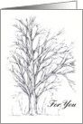 Happy Birthday Winter Tree Pen and Ink Art card