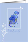 With Sympathy Loss of Pet Cat Blue Floral Art card