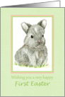 Happy First Easter Gray Bunny Rabbit Drawing card