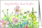 Happy Birthday Daughter Pink Wildflower Watercolor Art card