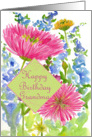 Happy Birthday Grandmother Pink Dahlia Flower Watercolor Art card