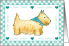 Scottie Dog Blank Note Card Green Hearts Watercolor card