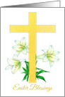 Easter Blessings Cross White Lily Flower Drawing card